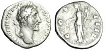 """Ancient Coins - Antoninus Pius Silver Denarius """"Aequitas With Scales"""" Rome 148-149 AD Good Fine"""