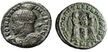 "Ancient Coins - Constantine I The Great AE20 ""Helmeted, Spear Bust & Victories"" Siscia RIC 95 VF"