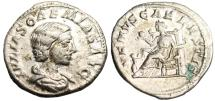 "Ancient Coins - Julia Soaemias Silver AR Denarius ""VENVS CAELESTIS Venus Seated"" VF RIC 243"