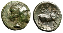 "Ancient Coins - Euboea, Histiaea AE17 ""Maenad & Bull, Grape Vine & Clusters"" Good VF Rare"