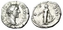 """Ancient Coins - Antoninus Pius Silver Denarius """"Annona Standing, Modius on Prow"""" RIC 221 gF"""