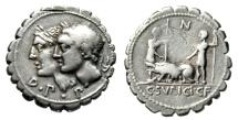 """C Sulpicius CF Galba Serrated Denarius """"Jugate Dei Penates & Soldiers, Sow"""" gF"""