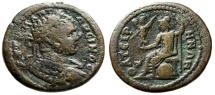 "Ancient Coins - Caracalla AE28 ""Athena Seated Left on Shield"" Lydia, Thyatira (Thyateira)"