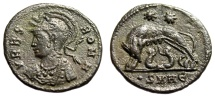 """Ancient Coins - Rome City Commemorative AE3 """"She-Wolf, Romulus & Remus"""" Heraclea RIC 119 Scarce"""