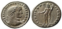 """Ancient Coins - Galerius as Augustus AE Follis """"Genius"""" Heraclea Well Done Portrait Style gVF"""