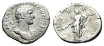 "Ancient Coins - Hadrian AR Denarius ""Pax Standing With Branch"" Rome 118 AD RIC 44"