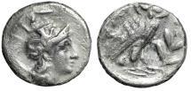 """Ancient Coins - Calabria, Tarentum AR Drachm """"Athena, Skylla Helmet & Owl, Olive Branch"""" Fine"""