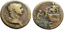 "Ancient Coins - Trajan Sestertius ""REX PARTHIS DATVS Parthamaspates, Kneeling Parthia"" RIC 667"