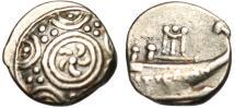 "Ancient Coins - Macedonia Bottiaea (Bottiaei Emathriae) Silver Triobol "" Shield & Prow"" Extremely Rare"