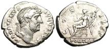"Ancient Coins - Hadrian Silver Denarius ""FORT RED Fortuna Seated"" Rome RIC 211d VF"