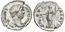 """Ancient Coins - Hadrian AR Denarius """"AEQVITAS AVG Aequitas, Scales"""" 134-138 AD RIC 228 EF"""
