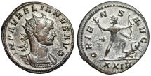"Ancient Coins - Aurelian Silvered Antoninianus ""ORIENS AVG Sol Crushing Enemy, Wielding Bow"" VF"