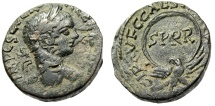 "Ancient Coins - Severus Alexander AE22 ""Eagle Holding SPQR Wreath"" Samaria, Caesarea Maritima VF"