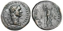 "Ancient Coins - Domitian AE Dupondius ""Virtus Standing"" RIC II 484 Near EF"