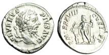 """Ancient Coins - Septimius Severus Silver Denarius """"Jupiter, Two Children"""" Rome RIC 233 Good VF"""