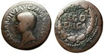 """Ancient Coins - Tiberius AE29 """"SEGO BRIGA in Wreath"""" Spain Segobriga Rare RPC 473"""