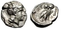 """Calabria, Tarentum (Taras) AR Drachm """"Athena & Owl Facing, Club"""" VF / EF"""