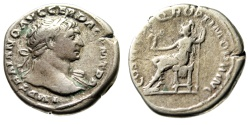 "Ancient Coins - Trajan AR Denarius ""Roma Seated"" 103-111 AD RIC 116 Fine Old Collection Tone"