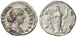 "Ancient Coins - Faustina II Junior AR Denarius ""Beautiful Choice Portrait & Juno, Peacock"""
