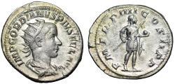 "Ancient Coins - Gordian III AR Antoninianus ""Emperor With Spear & Globe"" Rome 241-243 AD gVF"