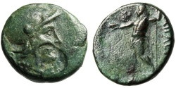 "Ancient Coins - Aeolis, Aigai AE18 ""Athena & Zeus With Eagle"" Scarce BMC 9 Authentic Greek Coin"