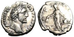 """Ancient Coins - Antoninus Pius Silver Denarius """"COS IIII Annona Holding Grain on Modius"""" RIC 221"""