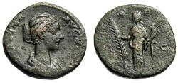 "Ancient Coins - Crispina (Wife of Commodus) AE As ""Hilaritas Holding Palm Branch"" Rome RIC 678"