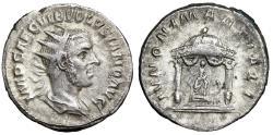 "Ancient Coins - Volusian AR Antoninianus ""IVNONI MARTIALI Round Temple, Juno, Peacock"" VF"