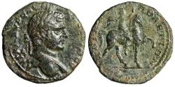 """Ancient Coins - Caracalla AE27 of Hadrianopolis Thrace """"Emperor on Horse, Hand Raised"""" Very Rare"""