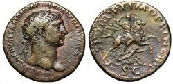 "Ancient Coins - Trajan AE Dupondius ""Riding Horseback, Spearing Dacian"" RIC 544 var Good VF"