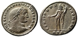 "Ancient Coins - Galerius as Augustus AE Follis ""Genius"" Heraclea Well Done Portrait Style gVF"