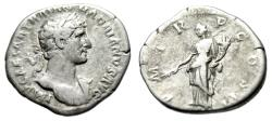 """Ancient Coins - Hadrian AR Denarius """"Pax Standing With Branch"""" Rome 118 AD RIC 44"""