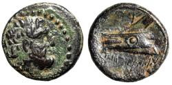 "Ancient Coins - Phoenicia, Arados AE15 ""Zeus Portrait & Ship's Ram"" Year 115 gVF"