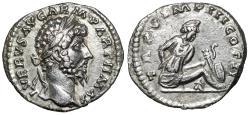 "Ancient Coins - Lucius Verus AR Denarius 165 AD ""Parthian Captive, Weapons"" About EF"