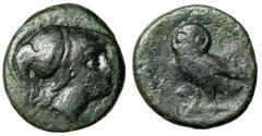 "Ancient Coins - Attica, Athens AE16 ""Helmeted Athena & Owl Left, Facing"" Near VF Scarce"
