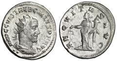 "Ancient Coins - Trebonianus Gallus AR Antoninianus ""Aequitas"" Antioch RIC 80 Good VF"
