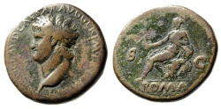 """Ancient Coins - Nero AE Sestertius """"Bust Left & Roma Seated on Cuirass"""" Rome RIC 274 64-68 AD"""