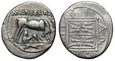 """Ancient Coins - Illyria, Dyrrhachium AR Drachm """"Cow Suckling, Hound & Torch"""" Meniskos gF"""