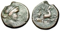 "Ancient Coins - Aeolis, Kyme AE16 ""Amazon Kyme & Forepart Horse"" Aristomaxos Magistrate gF"