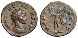 "Ancient Coins - Aurelian AE Antoninianus ""MARTI PACIF Mars, Shield"" Milan RIC 133 Rare aEF"