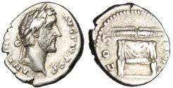 """Ancient Coins - Antoninus Pius Silver Denarius """"COS IIII Thunderbolt on Altar"""" Rome RIC 137"""