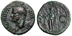 "Ancient Coins - Agrippa AE As ""Portrait & Neptune, Dolphin & Trident"" 38 AD VF"