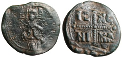"Ancient Coins - Anonymous Class C1 Christ Follis 1034-1041 AD ""Christ Antiphonetes & Cross"" EF"