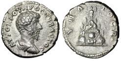 """Ancient Coins - Lucius Verus AR Didrachm """"Mount Argaeus. Helios Statue"""" Caesarea Good VF"""