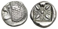 "Ancient Coins - Ionia, Miletos AR Diobol ""Roaring Lion Left & Stellate Floral / Star"" About EF"