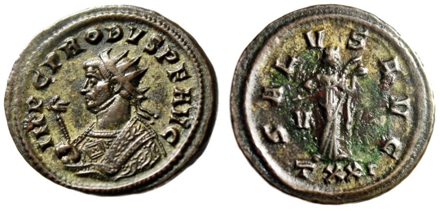 """Ancient Coins - Probus AE Ant. """"Consular Bust & Salus Feeding Serpent"""" Ticinum RIC 498 Scarce"""