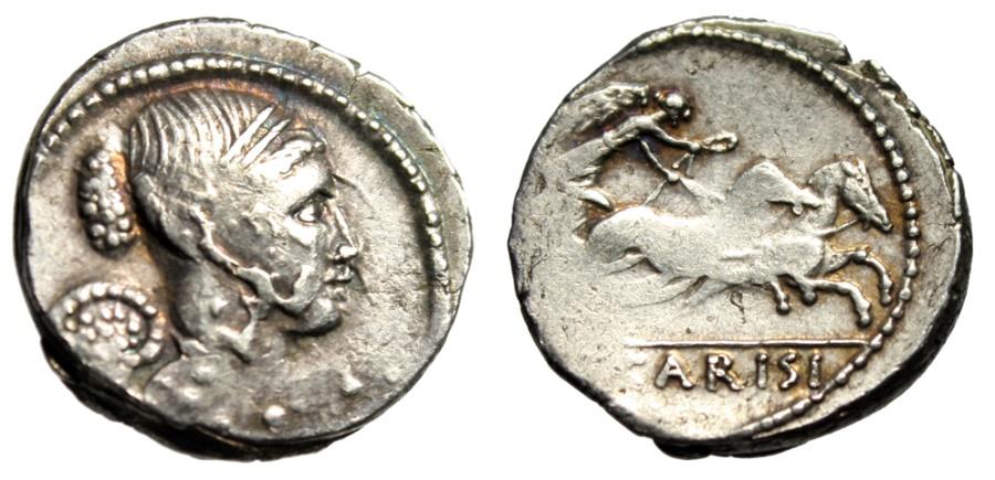 "Ancient Coins - T Carisius AR Denarius ""Winged Victory & Galloping Biga"" Rome 46 BC About VF"