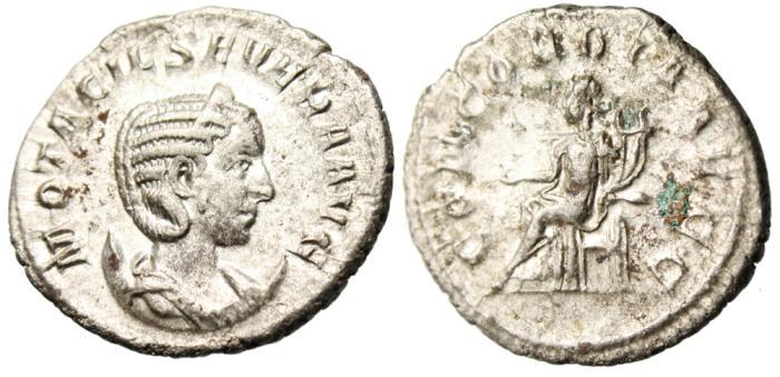 "Ancient Coins - Otacilia Severa Silver AR Antoninianus ""Concordia Seated"" Rome RIC 125c VF"