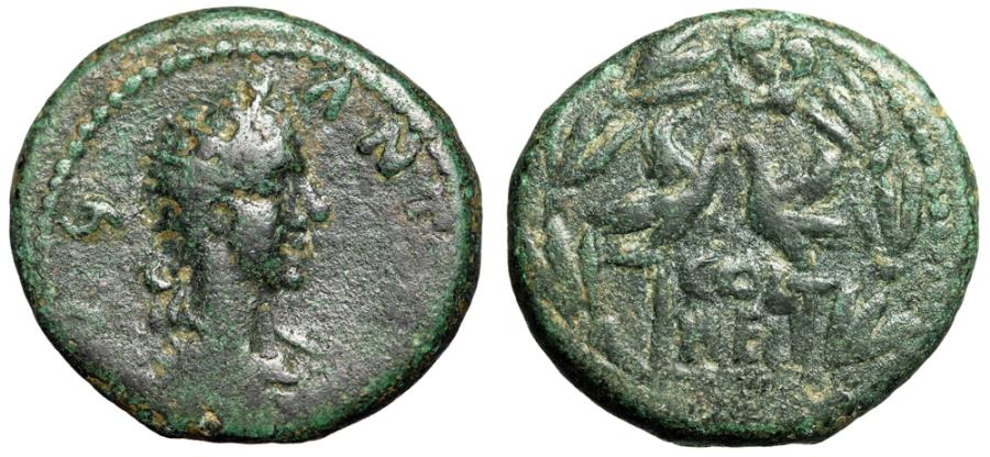 "Ancient Coins - Caracalla AE22 of Heliopolis ""Radiate Portrait & Two Aquila, Wreath"" Rare"