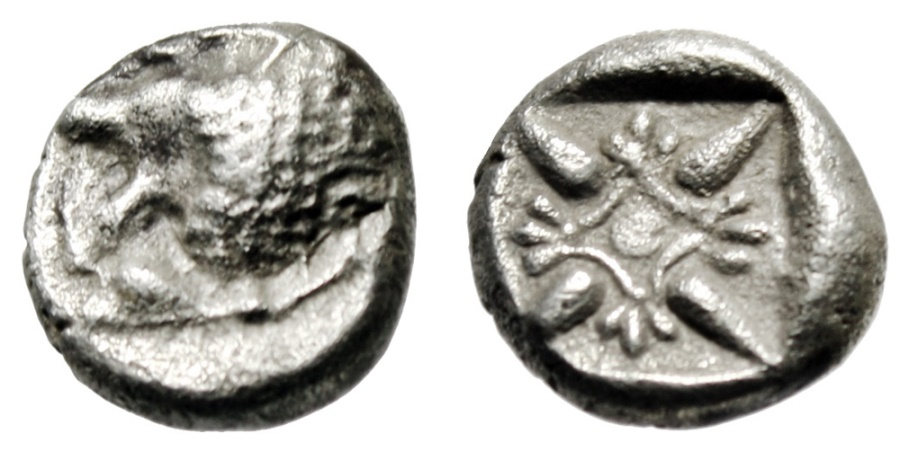 "Ancient Coins - Ionia, Miletos Silver Diobol ""Roaring Lion Head & Stellate Pattern"" 5th Cent BC"